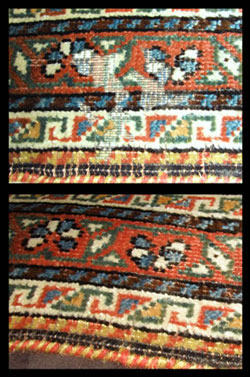 Moth damaged oriental rug restored.
