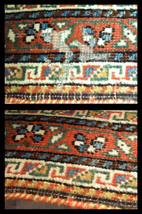 Moth damage before and after restoration at The Magic Carpet.