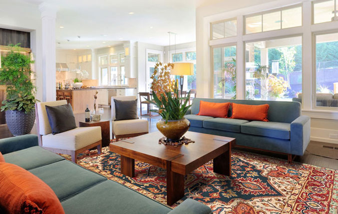 A beautiful Barakat Cultural Survival rug enhances a home.