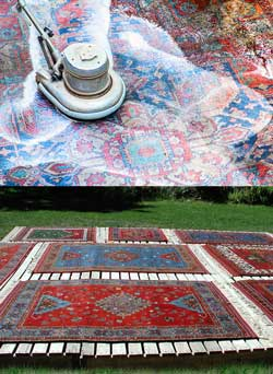 Oriental rug washing and drying at The Magic Carpet.