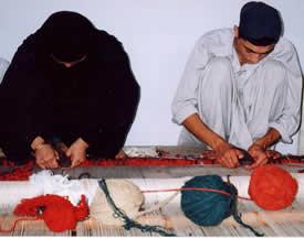 Ersari Weavers at work