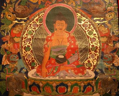 Medicine Buddha - Thanka Detail