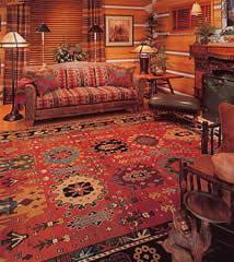 Oriental rug in home.